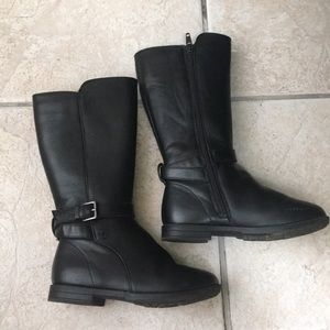 Children's place black knee high leather boots 11